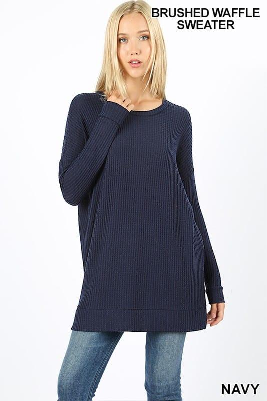 Brushed Thermal Waffle Round Neck Sweater (Plus)