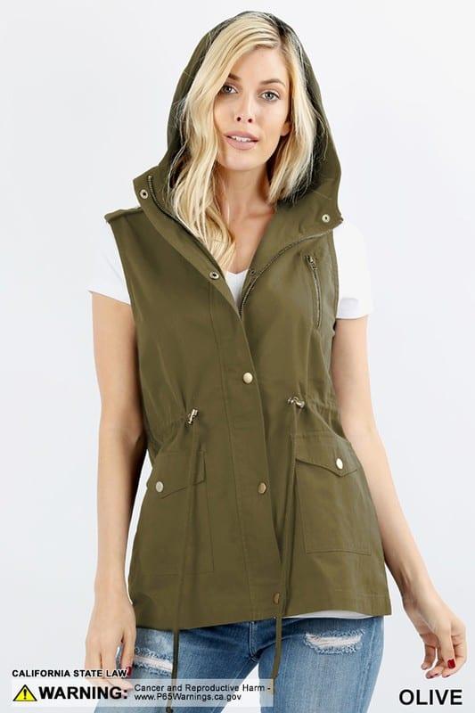 Loose Fit Drawstring Waist Military Hoodie Vest (Plus)