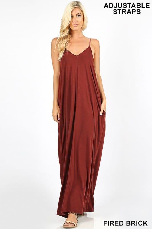 V-Neck Cami Maxi Dress w/ Side Pockets