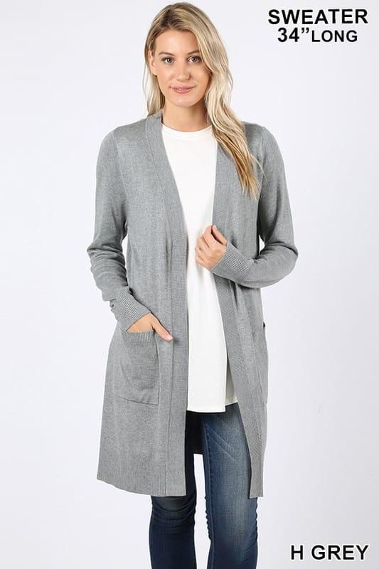 Open Cardigan Sweater w/ Pockets