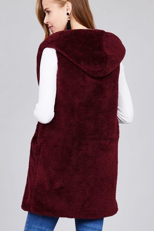 Open Front w/ Hoodie Faux Fur Soft Fluffy Vest