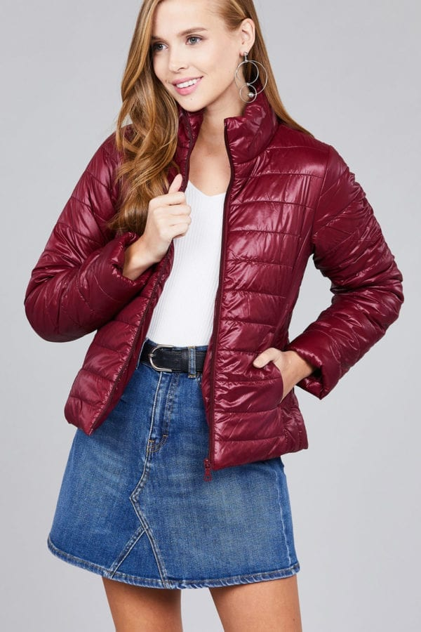 Long Sleeve Quilted Padding Jacket (Plus)