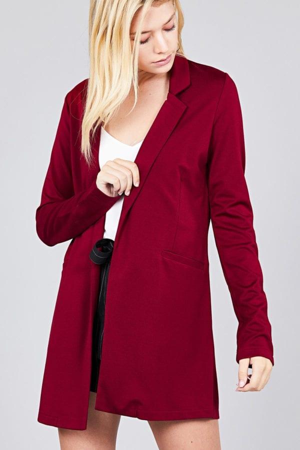 Long Sleeve Notched Collar w/ Pocket Tunic Jacket