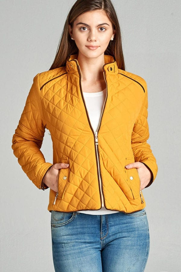 Quilted Padding Jacket w/ Suede Piping Details