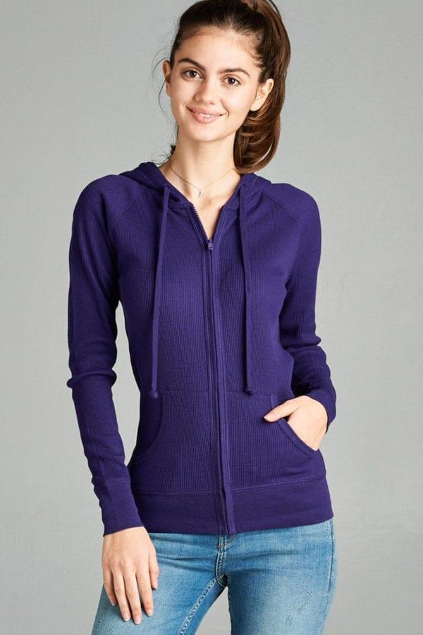 Long Sleeve Thermal Hoodie Jacket (Plus)