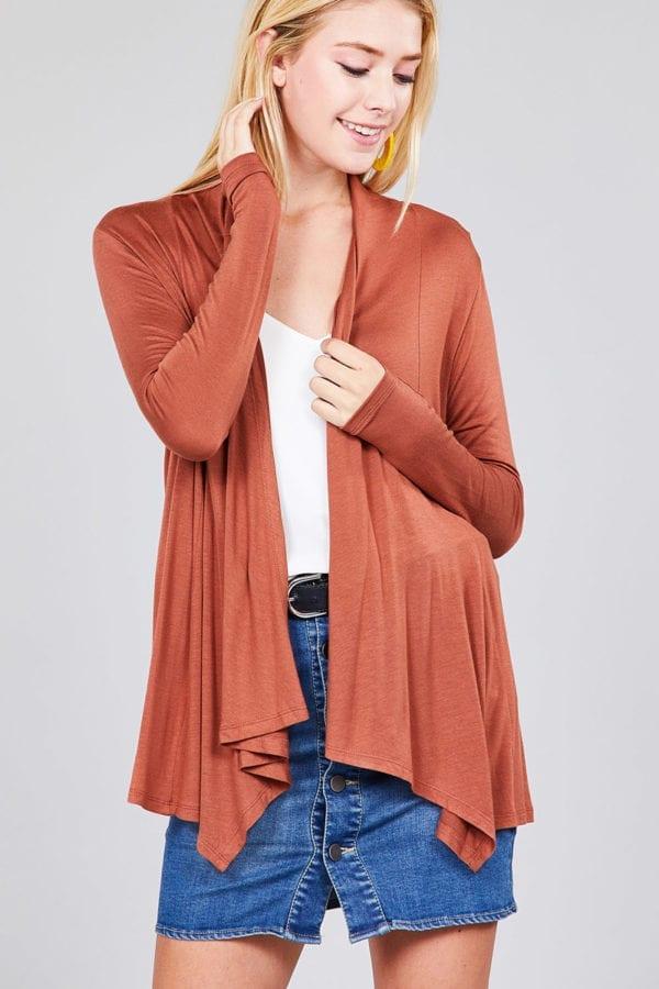 Long Sleeve Open Drape Rayon Spandex Jersey Cardigan