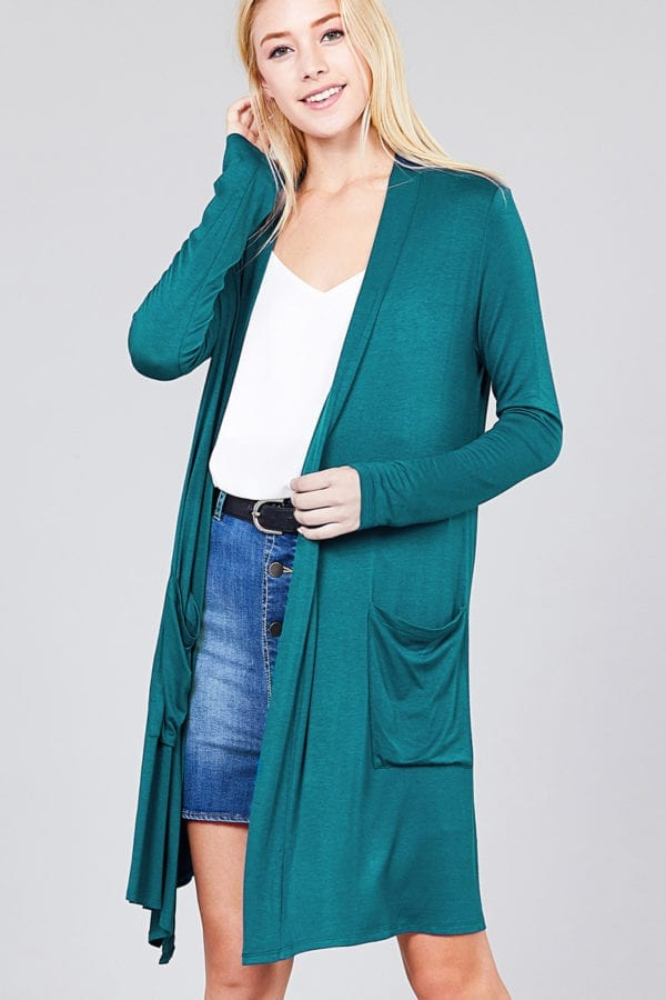 Open Front w/ Pocket Long Length Rayon Spandex Cardigan
