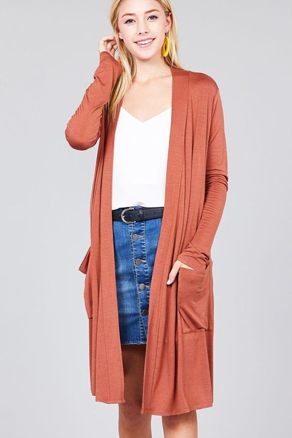 Open Front w/ Pocket Long Length Cardigan (Plus)