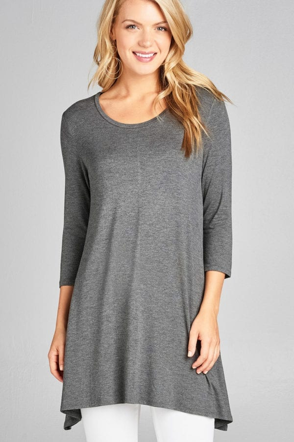 3/4 Sleeve Round Neck Rayon Spandex Jersey Tunic Top
