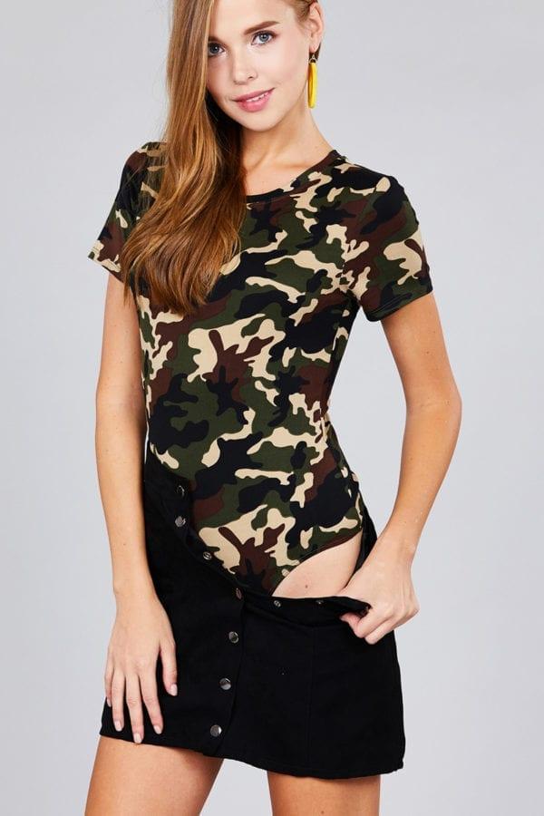 Short Sleeve Crew Neck Camo Print DTY Brushed Bodysuit