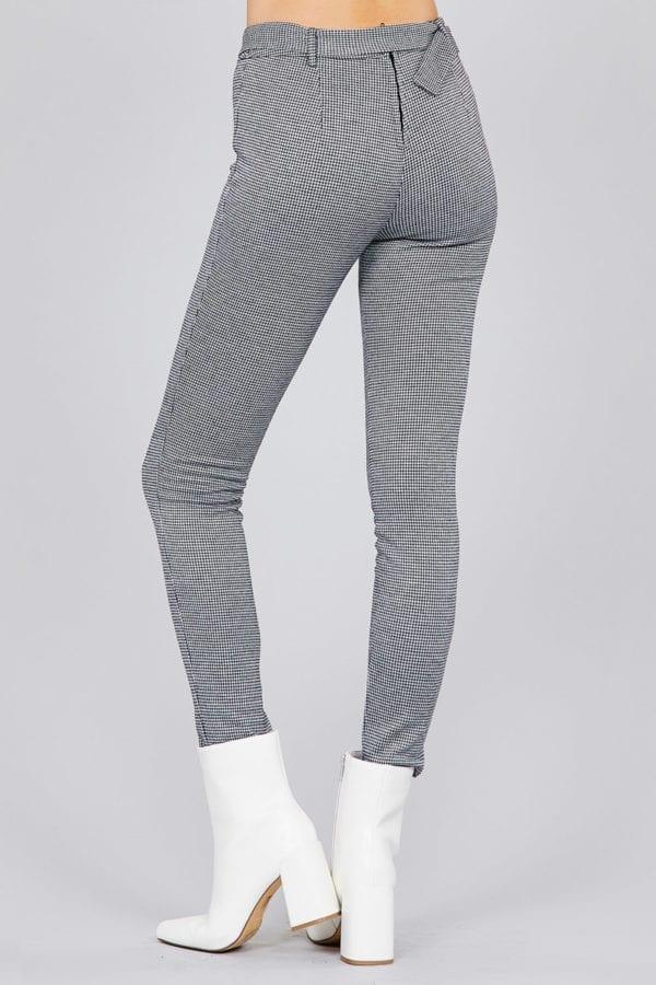 Self O-Ring Belt Detail Jacquard Long Pants