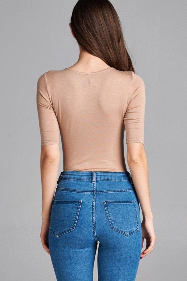 Elbow Sleeve Lace-Up Bodysuit