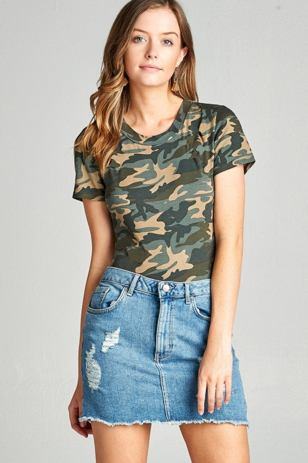 Short Sleeve Camo Print Cotton Spandex Bodysuit