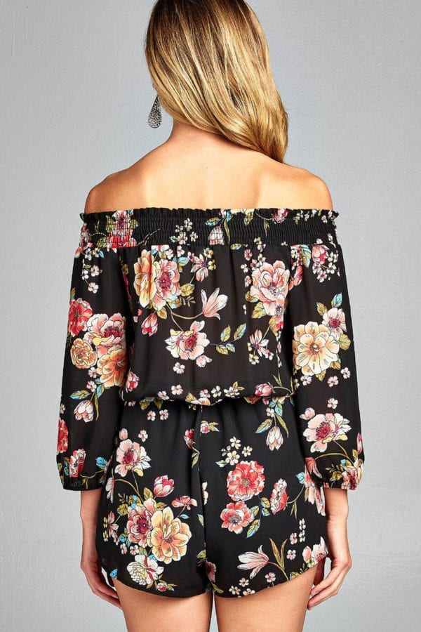 3/4 Sleeve Floral Print w/ Smocked Waist Ribbon Tie Romper