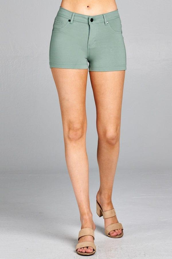 Solid 5-Pockets Ponte Short Pants