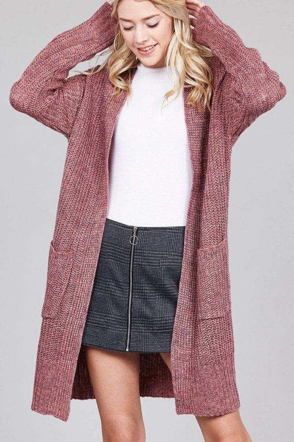 Dolman Sleeve w/ Patch Pocket Marled Sweater Cardigan