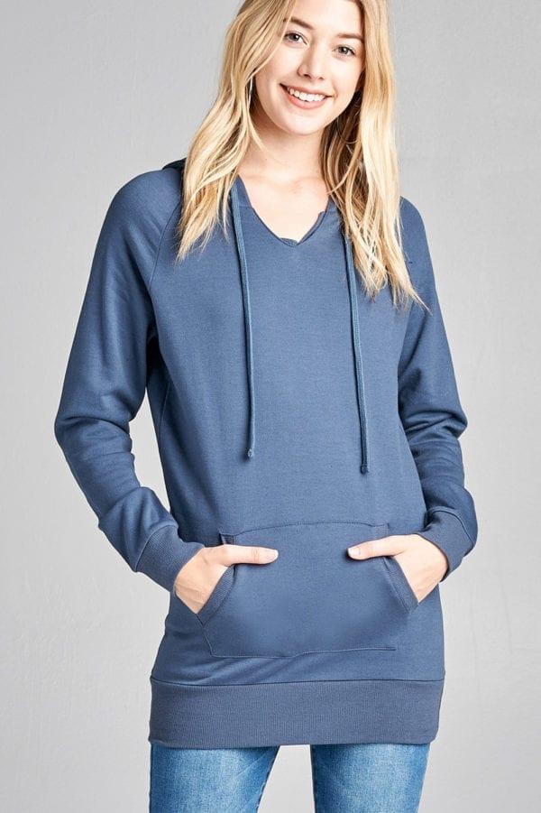 Raglan V-Neck Drawstring Hoodie w/ Kangaroo Pocket