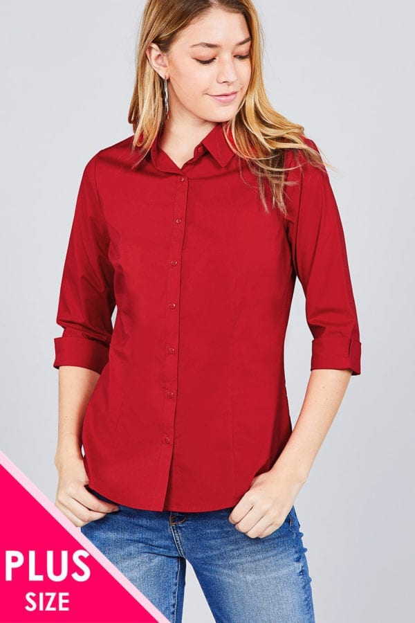 3/4 Sleeve Stretch Button Down Collar Shirt (Plus)