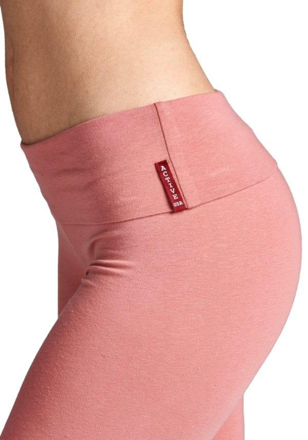 Leggings w/ Flare Bottom Detail and Fold Over Waist