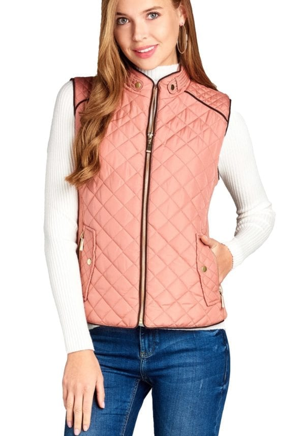 Quilted Padding Vest w/ Suede Piping Details (Plus)
