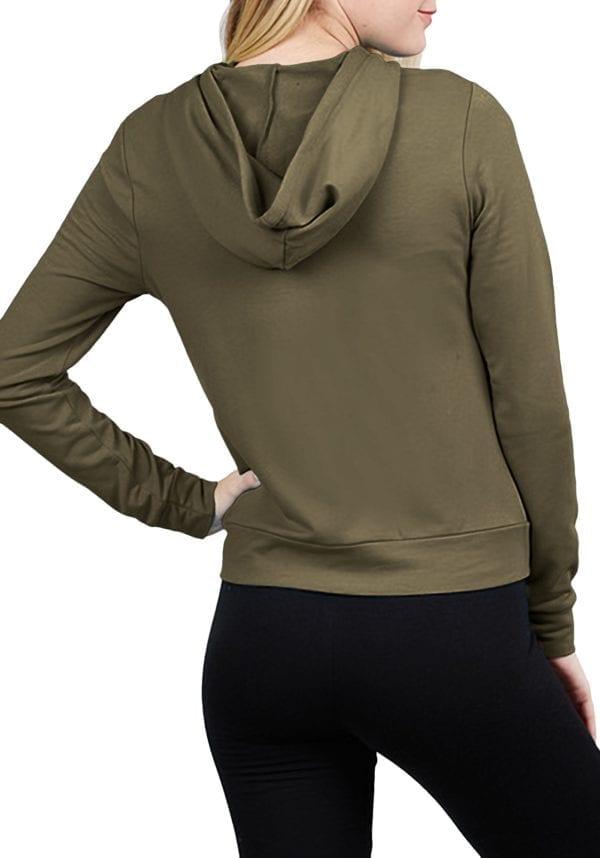 French Terry Zip-Up Front Kangaroo Pocket Hoodie Top