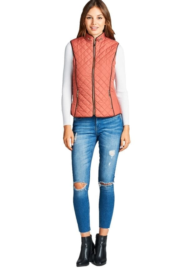 Faux Shearling Lined Quilted Padding Vest (Plus)