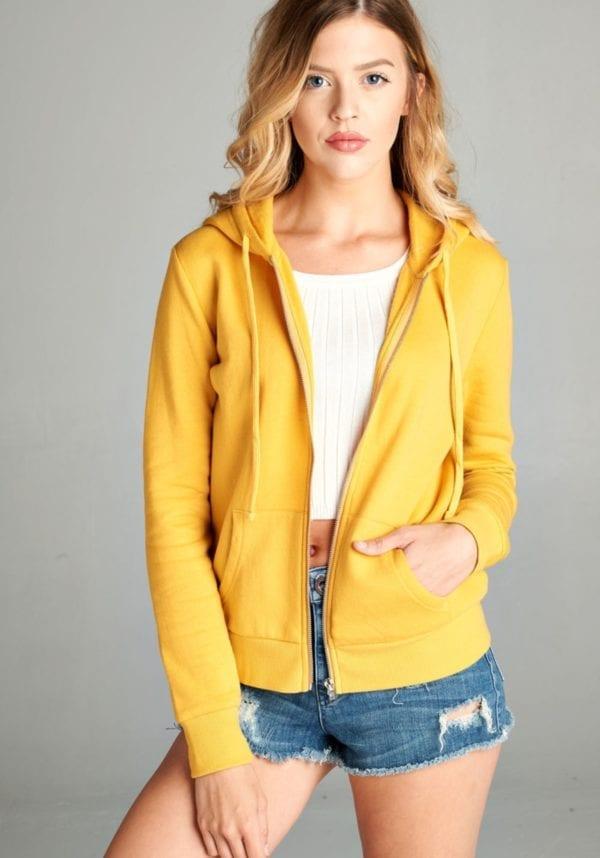 Basic Solid Knit Long Sleeve Zip Up Hoodie Jacket w/Fleece