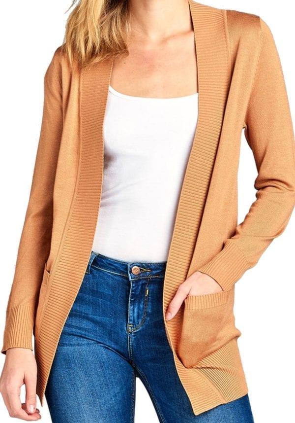 Long Sleeve Rib Banded Open Sweater Cardigan w/ Pockets