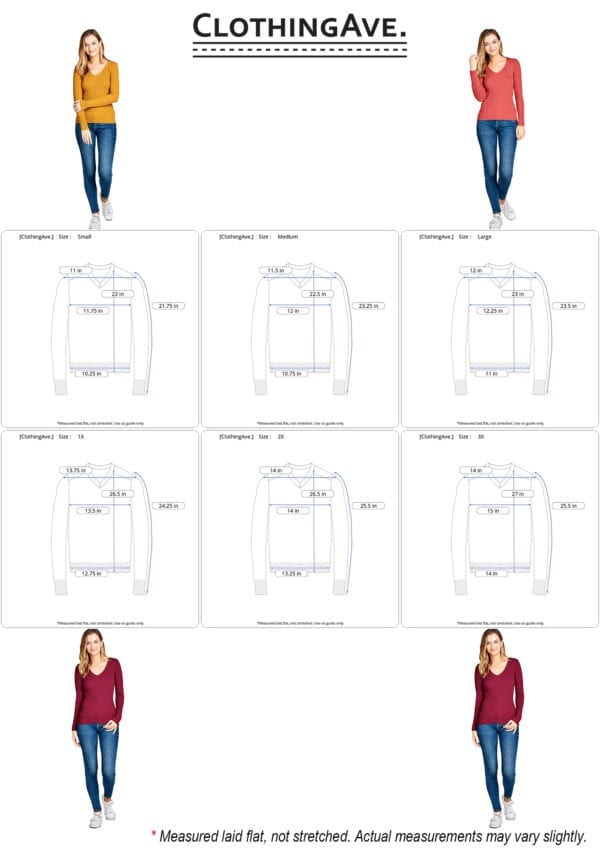 Long Sleeve V-Neck Fitted Rib Sweater Top (Plus)