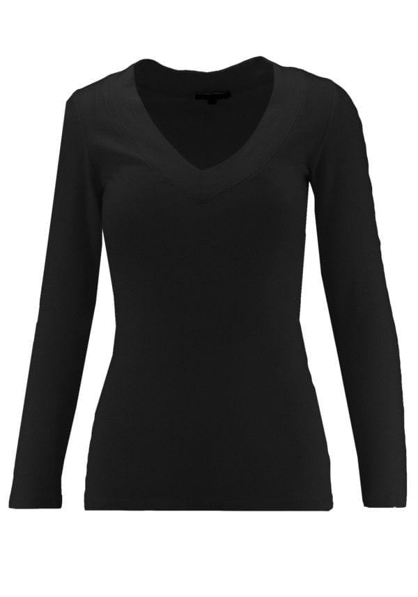 V-Neck Long Sleeve Basic Top (Plus)