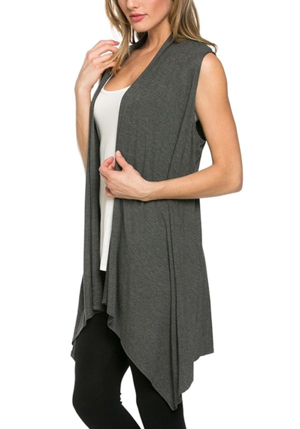 Asymmetric Sleeveless Open Front Cardigan Dressy Vest