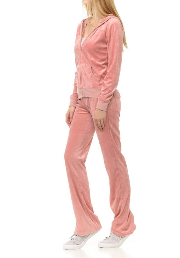 Lightweight Hoodie & Sweatpants Velour Loungewear Set