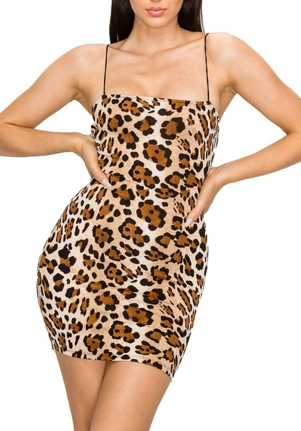 Bodycon Cami Slip Dress w/ Spaghetti Straps