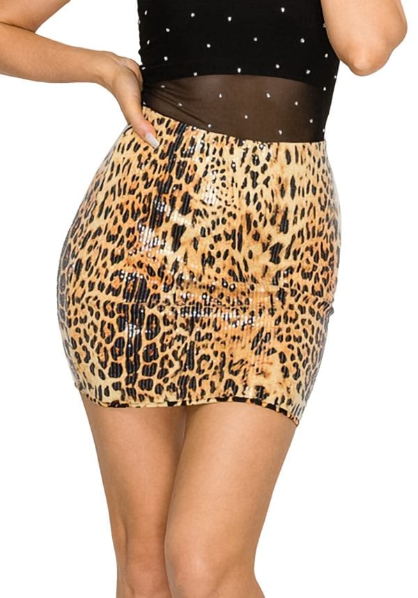 Bodycon Printed and Sequin Fitted Mini Skirt