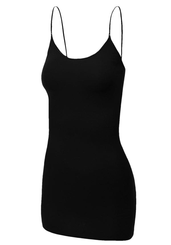 Adjustable Strap Basic Long Cami Tunic Tank Top (Plus)