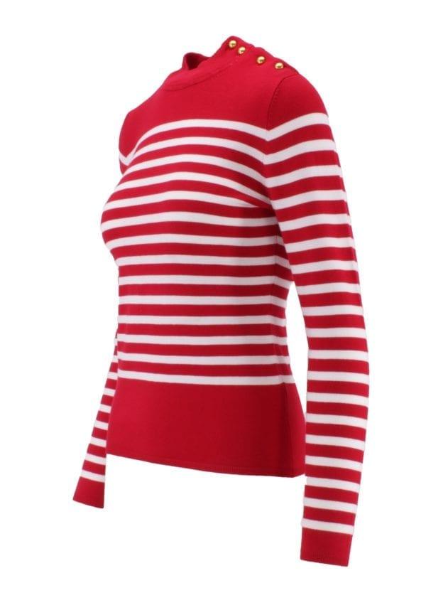Embellished Stripe Mock Neck