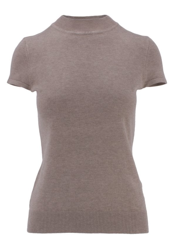 Mock Neck Short Sleeve Sweater