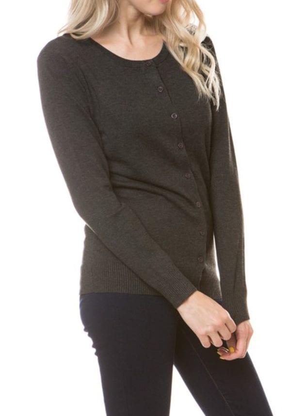Long Sleeve Classic Premium Button Up Crew Neck Cardigan