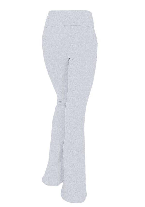 Foldover Contrast Waist Bootleg Flare Yoga Pants (Plus)