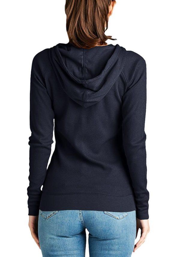 Basic Solid Long Sleeve Zip Up Hoodie Jacket Thermal