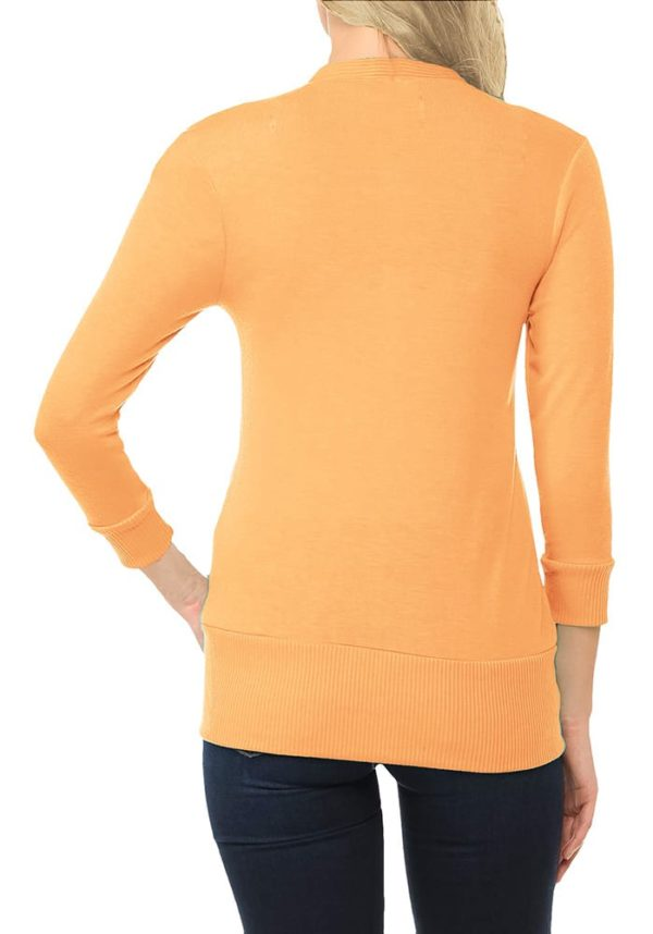 3/4 Sleeve Snap Button Sweater Cardigan w/ Ribbed Detail
