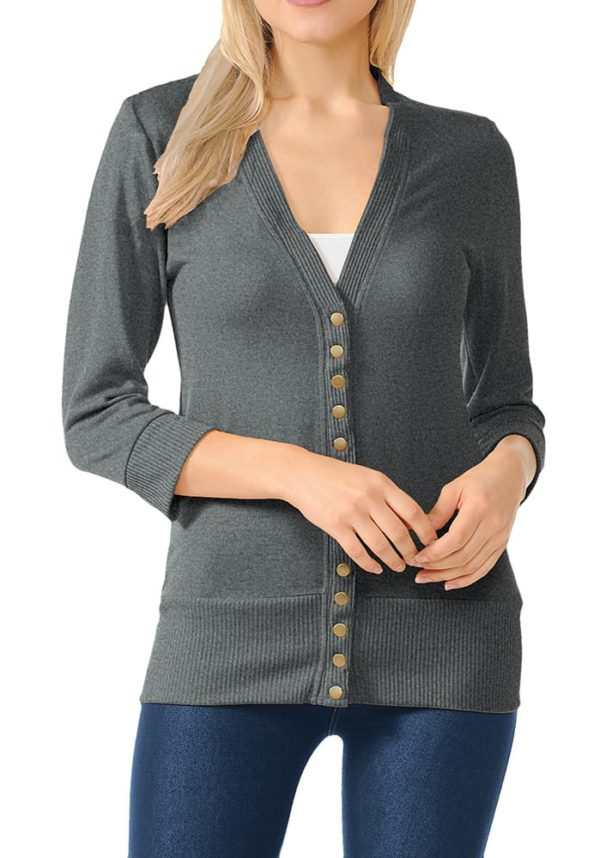 3/4 Sleeve Snap Button Sweater Cardigan w/ Ribbed Detail (Plus)