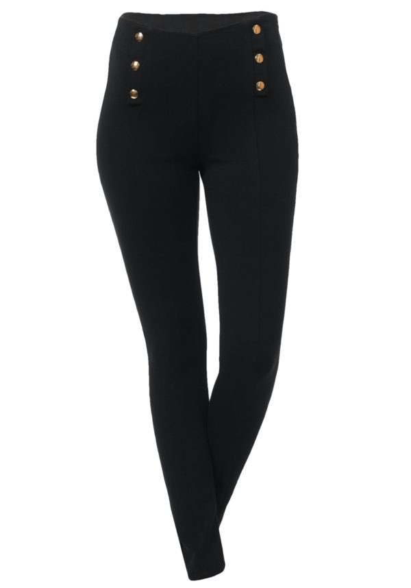 Sailor Dress Pants Fitted w/ Side Zipper and Button Detail