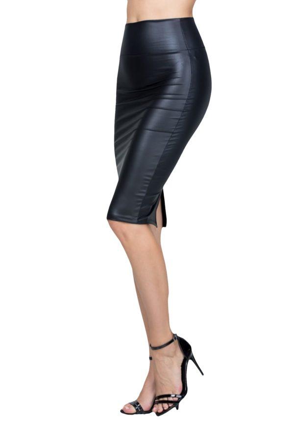 Stretchy Faux Leather High Waist Knee Length Pencil Skirt