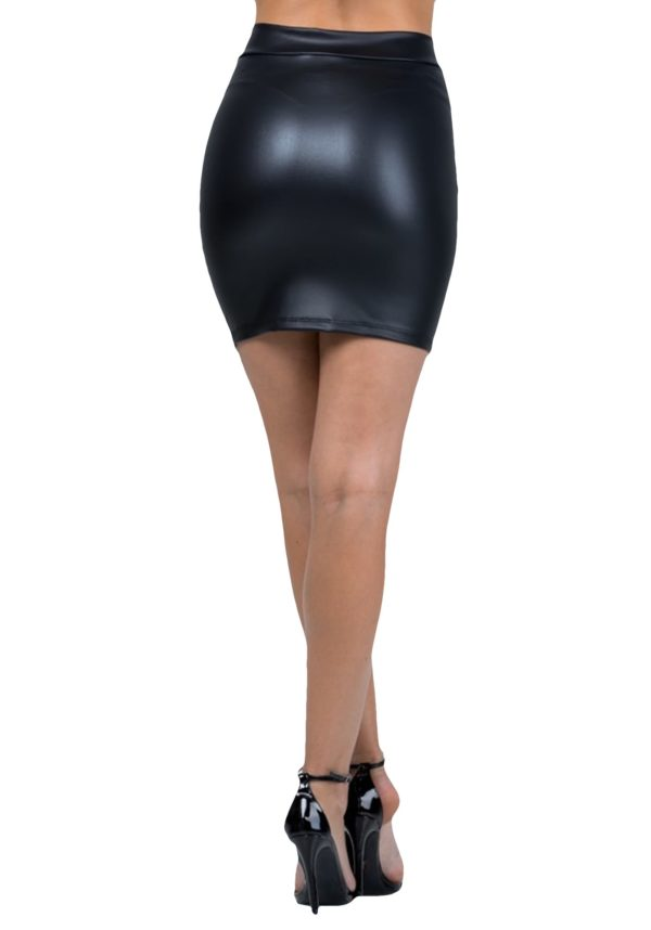 Faux Leather Black Mini Skirt w/ O-Ring Zipper