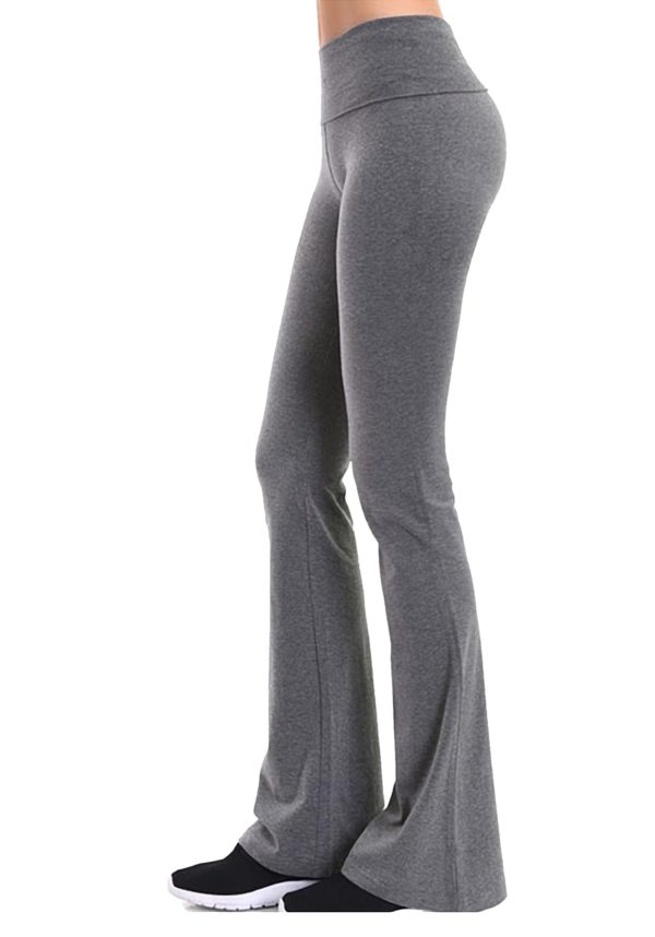 Foldover Contrast Waist Flare Yoga Pants (Variety Pack)