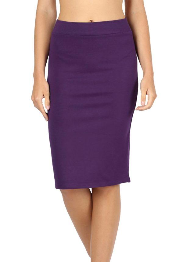 High Waist Knee Length Ponte Basic Skirt