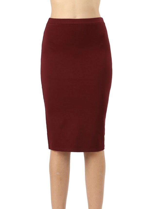 High Waist Knee Length Ponte Basic Skirt (Plus)