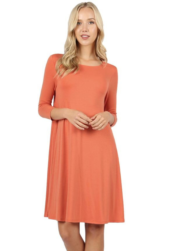 Premium Fabric 3/4 Sleeve Flare Dress w/ Pockets (Plus)