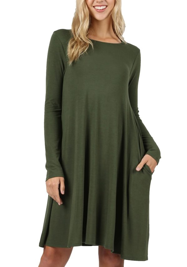 Premium Long Sleeve Flare Dress w/ Pockets